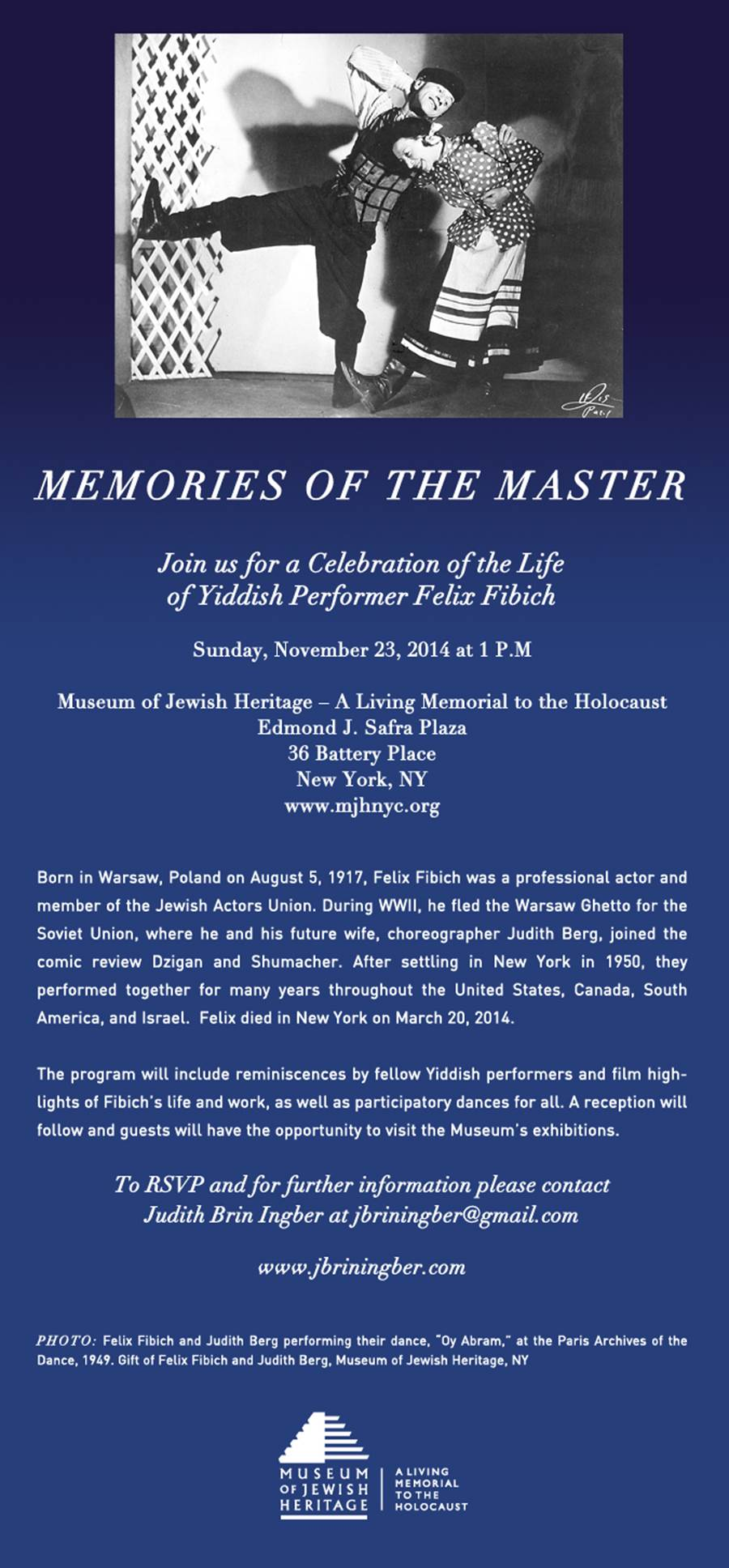 Invitation to Memorial for Yiddish Performer, Felix Fibich