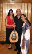 Judith in costume with musicians Sarah Aroeste and Yoel Ben-Simhon